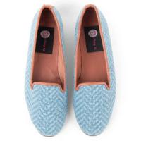 By Paige Woman's Blue Herringbone Needlepoint Loafers