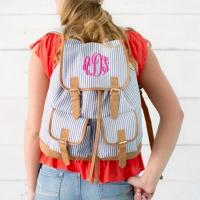 Monogrammed Navy Seersucker Campus Backpack