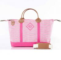 CB Station Hot Pink Stripes Monogrammed Weekender