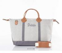 CB Station Gray Stripes Monogrammed Weekender