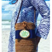Monogrammed Tall Oval Bali Bag