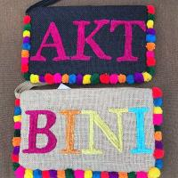 Personalized Beaded Large Jute Clutch with Pompoms
