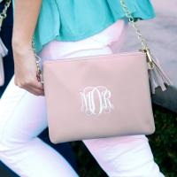 Monogrammed Blush Vegan Crossbody Kendall Clutch