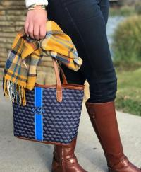 Barrington Petite St. Anne Tote Fall Patterns with Monogrammed Stripe