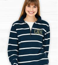 Monogrammed Striped Crosswinds Pullover Navy or Gray