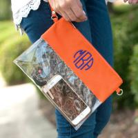 Personalized Orange Clear Purse