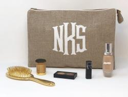 Jumbo Helen Cosmetic Bag in Natural Textured Fabric Jumbo Helen Cosmetic Bag in Natural Textured Fabric NULL