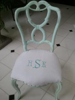 Monogrammed Chair Seat In Tiffany Blue Monogrammed Chair  NULL