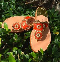 Coral and Gold Palm Beach Sandals Coral and Gold Apparel & Accessories > Shoes > Sandals > Thongs & Flip-Flops