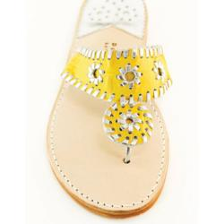 Yellow Croc with Silver Palm Beach Sandals Yellow Croc with Silver Apparel & Accessories > Shoes > Sandals > Thongs & Flip-Flops