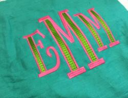 This is a larger 2 color font called Deco.  Deco on Green Pillow NULL