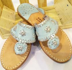 Sky Blue with silver trimmed classic sandals Sky Blue with silver trim NULL