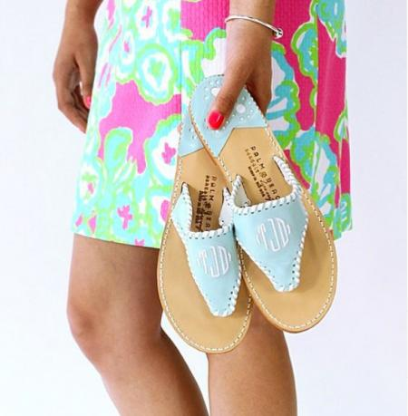 palm beach monogrammed sandals and classic sandals
