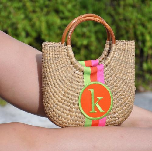 Queen Bea Monogrammed Cocktail Half Moon Basket  Apparel & Accessories > Handbags > Tote Handbags