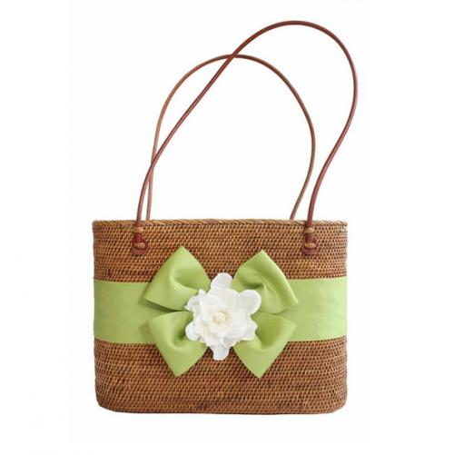 Bosom Buddy Large Oval Bali Bag with Gardenia and Floppy Bow  NULL