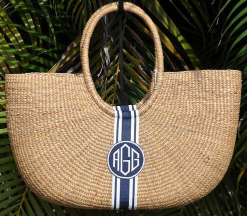 Monogrammed Large Over The Shoulder Basket   Apparel & Accessories > Handbags > Shoulder Bags