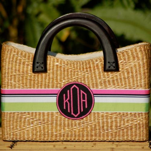 Queen Bea Monogrammed Large Beverly Basket  Apparel & Accessories > Handbags > Tote Handbags