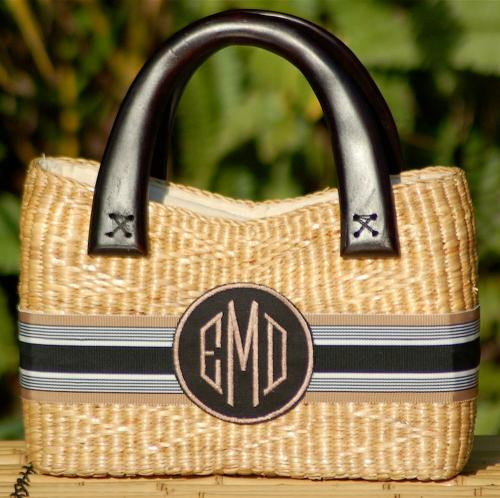Queen Bea Monogrammed Small Beverly Basket  Apparel & Accessories > Handbags > Tote Handbags