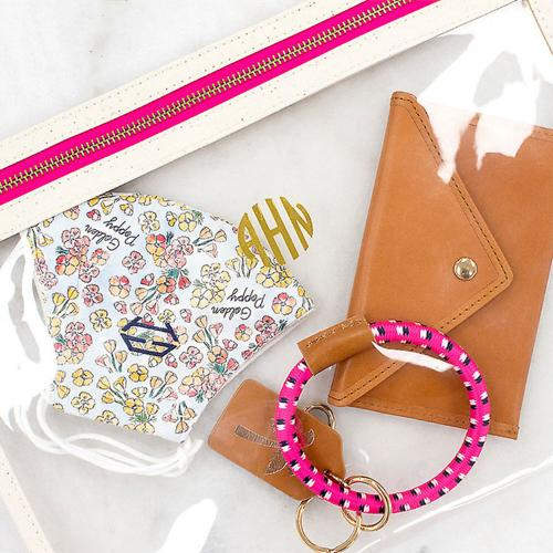 Boulevard Terra Clear Large TPU Pouch Wristlet Monogrammed  Apparel & Accessories > Handbags > Wristlets