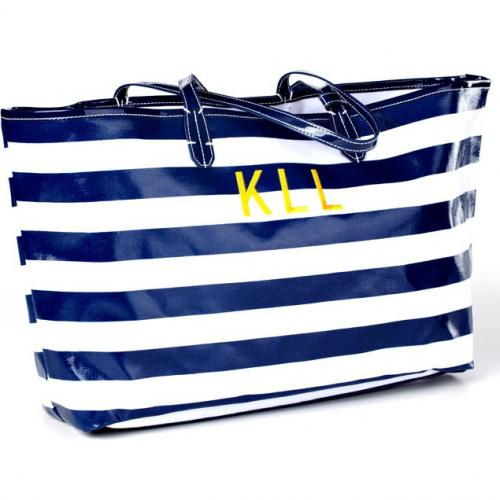 Monogrammed Wellie Market Tote in Stripes  Apparel & Accessories > Handbags > Tote Handbags