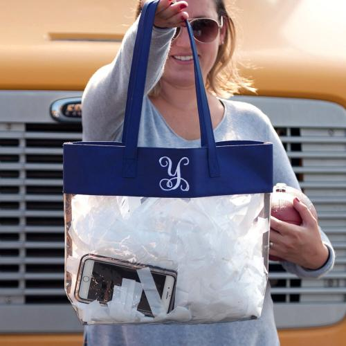 Monogrammed Clear Stadium Tote Trimmed in Navy  Apparel & Accessories > Handbags > Tote Handbags