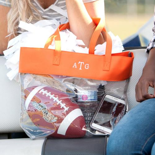 Monogrammed Clear Stadium Tote Trimmed in Orange  Apparel & Accessories > Handbags > Tote Handbags