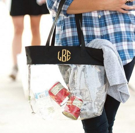 Clear Stadium Bag Trimmed in Black  Apparel & Accessories > Handbags > Tote Handbags