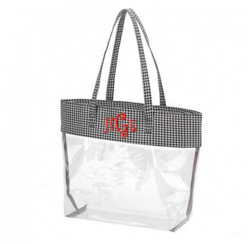 Clear Stadium Tote with Houndstooth Trim  Apparel & Accessories > Handbags > Tote Handbags