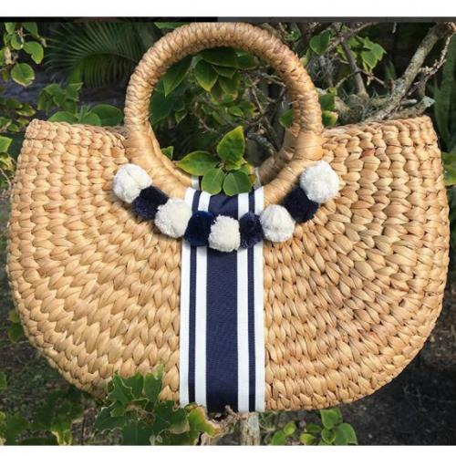 Queen Bea Kala Nantucket Poms Basket  Queen Bea Kala Nantucket Poms Basket  Apparel & Accessories > Handbags > Tote Handbags