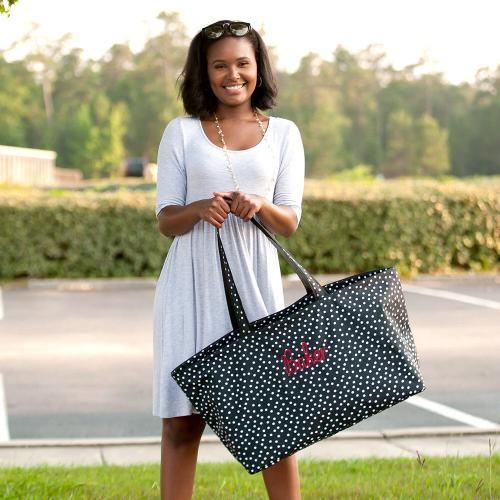 Personalized Black Scattered Dot Ultimate Tote  Home & Garden > Household Supplies > Storage & Organization > Utility Baskets