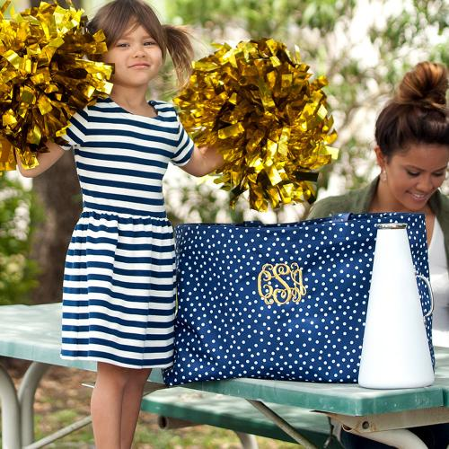 Personalized Navy Scattered Dot Ultimate Tote  Home & Garden > Household Supplies > Storage & Organization > Utility Baskets