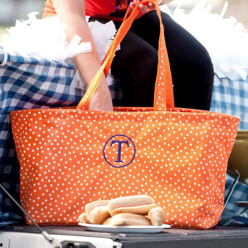 Personalized Orange Scattered Dot Ultimate Tote  Home & Garden > Household Supplies > Storage & Organization > Utility Baskets
