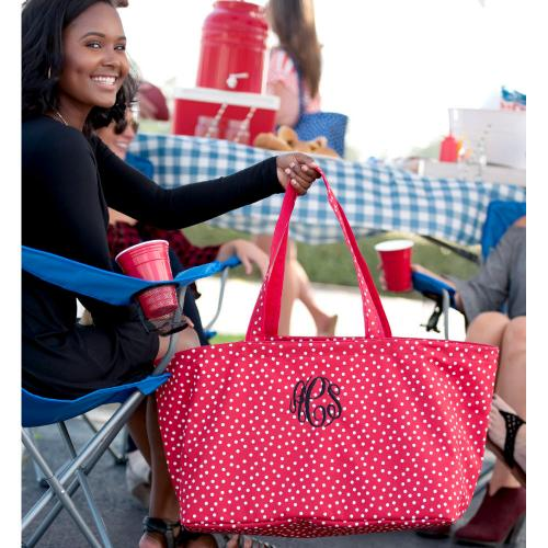 Personalized Red Scattered Dot Ultimate Tote  Home & Garden > Household Supplies > Storage & Organization > Utility Baskets