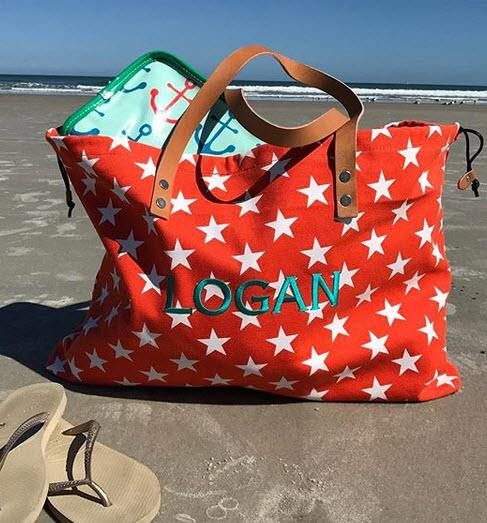 Monogrammed Stargazing Oversized Canvas Tote  Apparel & Accessories > Handbags > Tote Handbags