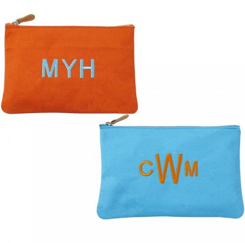 Monogrammed Wanderlust Canvas Pouch  Luggage & Bags > Toiletry Bags