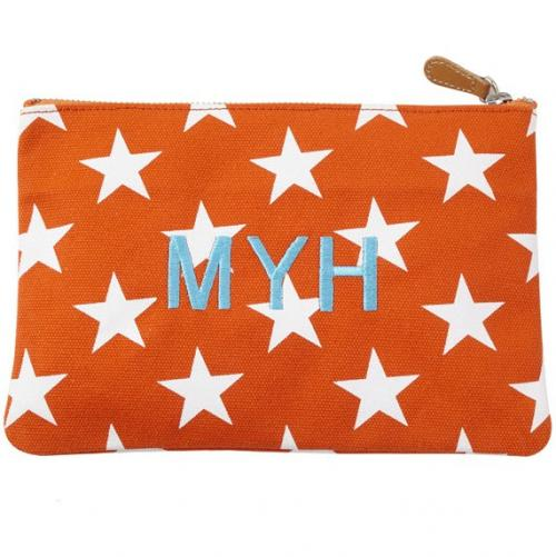 Monogrammed Stargazing Flat Canvas Pouch  Luggage & Bags > Toiletry Bags