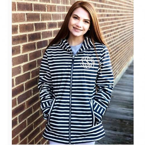 Aqua and White Striped Monogrammed Charles River Jacket  Apparel & Accessories > Clothing > Outerwear > Rain Gear > Raincoats
