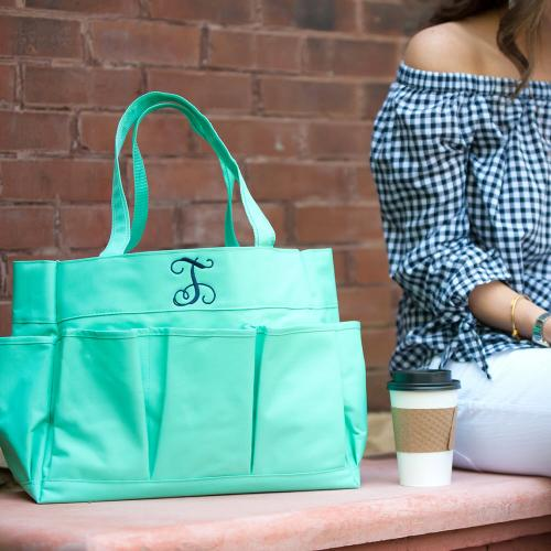 Personalized Mint Green Carry All Tote  Home & Garden > Household Supplies > Storage & Organization > Utility Baskets