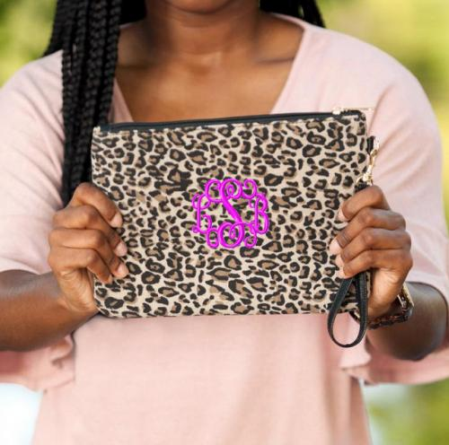 Monogrammed Leopard Print Everly Wristlet Clutch  Apparel & Accessories > Handbags > Wristlets