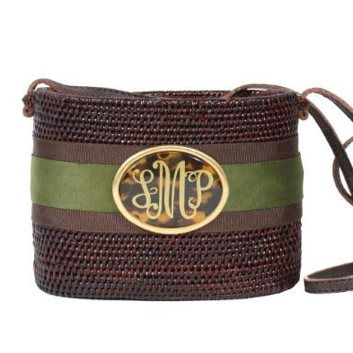 Small Oval Bali Bag Suede Layers Monogram  Apparel & Accessories > Handbags > Clutches & Special Occasion Bags