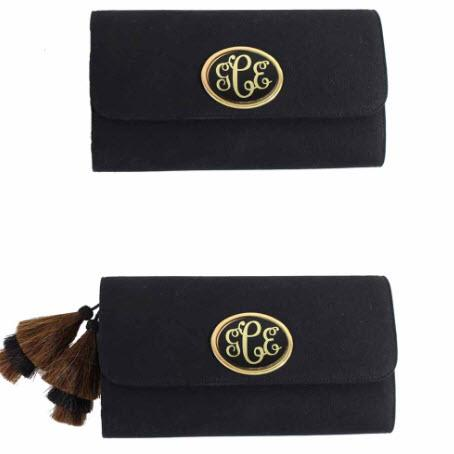 Black Foldover Clutch Oval Monogram  Apparel & Accessories > Handbags > Clutches & Special Occasion Bags