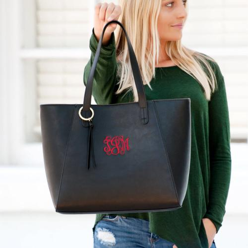 Black Vegan Leather Monogrammed Camilla Tote  Apparel & Accessories > Handbags > Tote Handbags