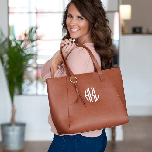 Camel Vegan Leather Monogrammed Camilla Tote  Apparel & Accessories > Handbags > Tote Handbags