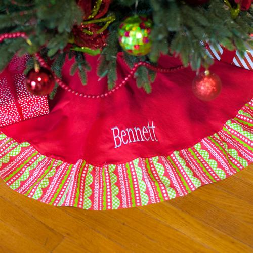 Personalized Holly Jolly Tree Skirt  Home & Garden > Decor > Seasonal & Holiday Decorations > Christmas Tree Skirts
