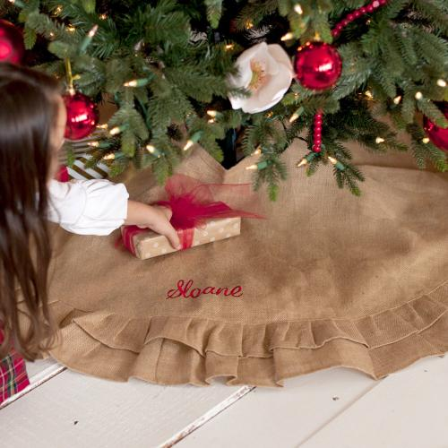 Personalized Burlap Ruffle Tree Skirt  Home & Garden > Decor > Seasonal & Holiday Decorations > Christmas Tree Skirts