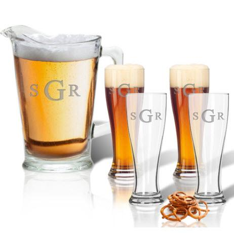 Glass Pitcher & Pilsner Set of 4 Personalized  Home & Garden > Kitchen & Dining > Barware