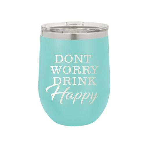 Don't Worry Be Happy Stainless Steel Tumbler with Lid  Home & Garden > Kitchen & Dining > Tableware > Drinkware > Tumblers