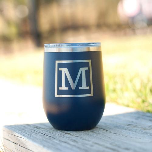 Classic Initial Stainless Steel Tumbler with Lid  Home & Garden > Kitchen & Dining > Tableware > Drinkware > Tumblers