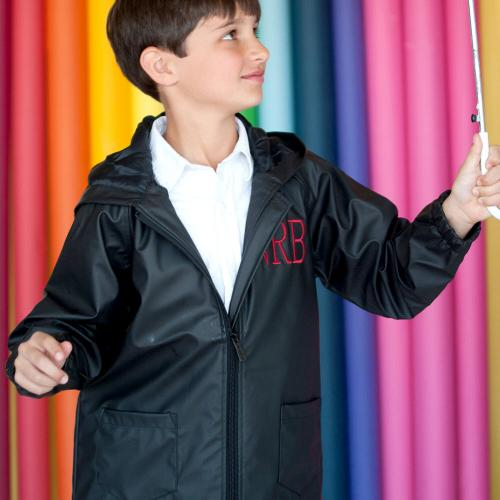 Personalized Childs Black Rain Jacket Size Medium  Apparel & Accessories > Clothing > Outerwear > Rain Gear > Raincoats