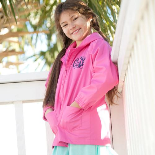 Personalized Childs Hot Pink Rain Jacket Size Medium  Apparel & Accessories > Clothing > Outerwear > Rain Gear > Raincoats